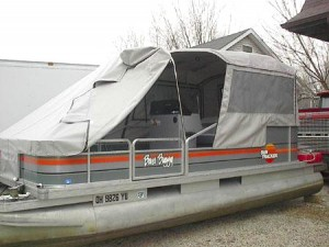 open front of tent for pontoons